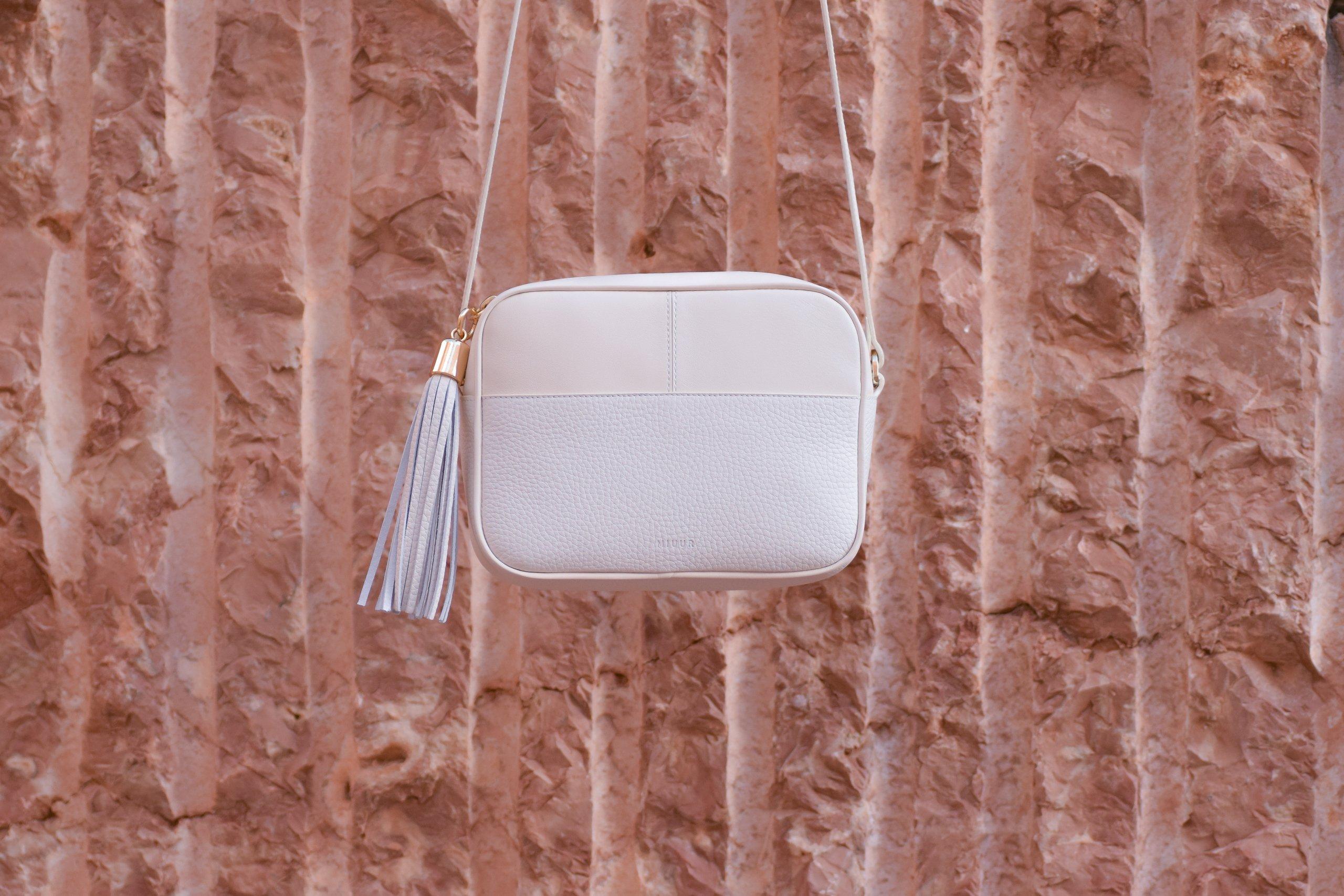 miuur lua ivory white crossbody bag